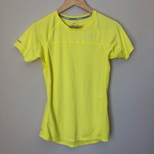 Nike Miler Dri Fit Fitted Yellow Athletic Top